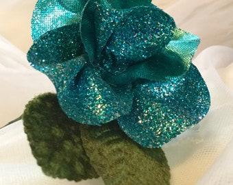 Blue Glitter Ribbon Rose