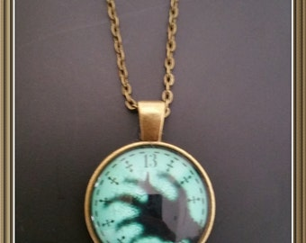 Haunted Mansion 13 Hour Clock Face Pendant and Chain - Hatbox Ghost Disney Hitchhiking Ghosts