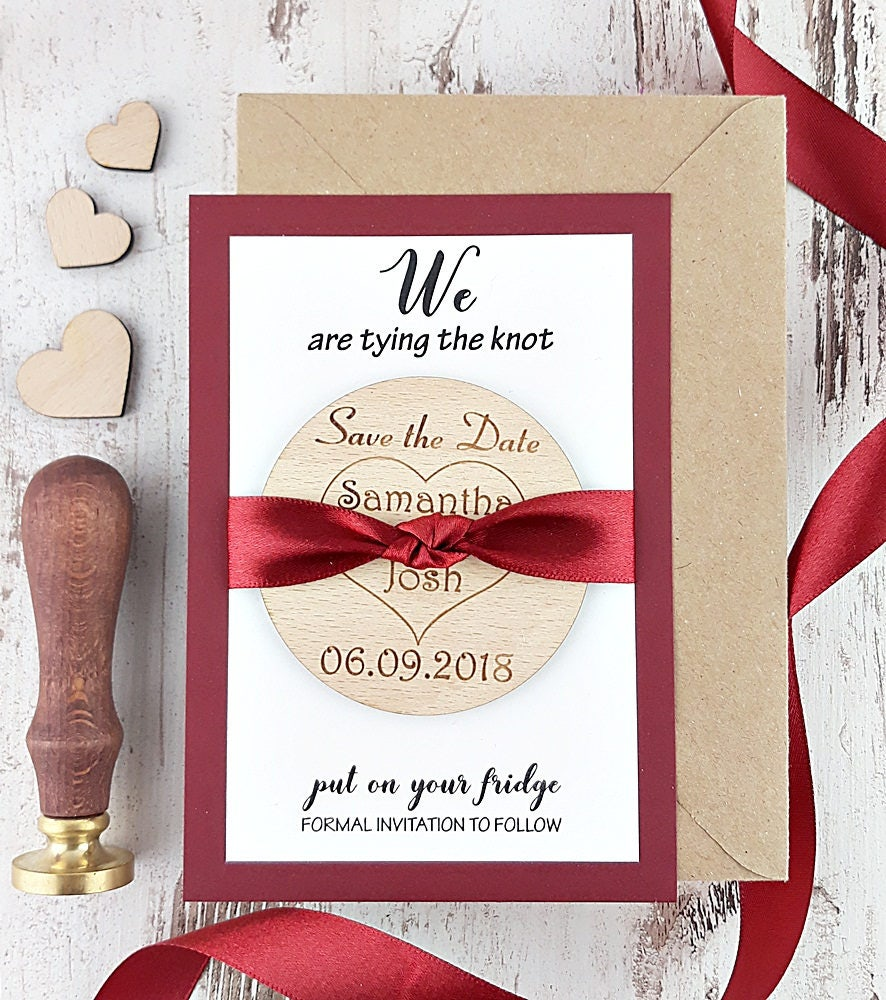 Burgundy Save the date Cards with Magnet, Wooden Save the date ...