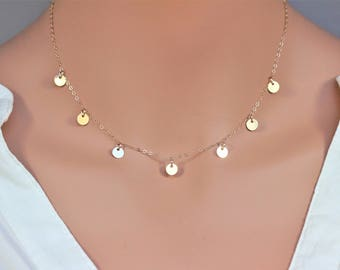 Gold disc necklace - Gold coin necklace -  Prom Necklace -Gold circle necklace - Gold disc choker - Coin Disc Necklace - Gold coin necklace