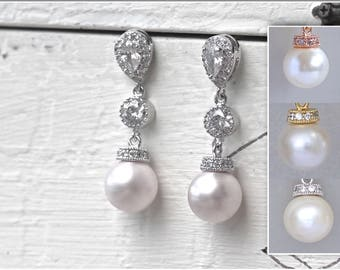 Pearl Bridal Earrings, Wedding Earrings, Clipon Earrings Option, Pearl Drop Earrings, SISSY 5
