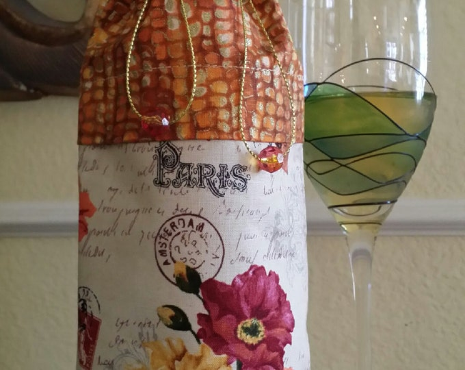 Wine Bag-Deluxe-Flower Power Collection (Orange n' Yellow)