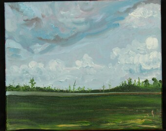 summer landscape oil painting before the storm art