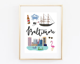Illustrated Baltimore, Maryland Art Print