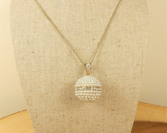Faux Pearl Necklace, Faux Pearls Charm, Glitter Ball Pendant, Hollywood Style Jewellery