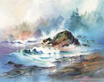 Oregon Surf- Beach Watercolor Art Print by Michael David Sorensen. Blue Purple Coastal Watercolor. Seagulls. Ocean. Watercolor Trees.