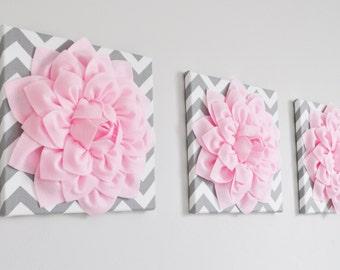 "Floral Wall Art -SET OF THREE Light Pink Dahlia on Gray and White Chevron 12 x12"" Canvas Wall Art- 3D Felt Flower"