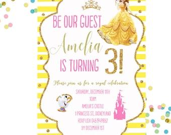 Belle Invitation, Belle Birthday Invitation, Beauty And The Beast Invitation, Princess Invitation, Girls Birthday Invitation