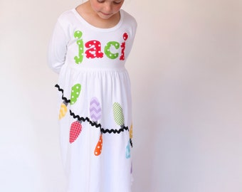 Christmas Lights Dress - Applique Christmas Dress for Girls and Toddlers- You Choose Sleeve Length and Dress Color
