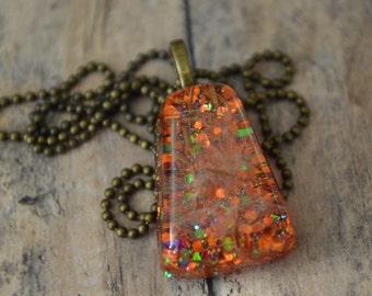 Dandelion Necklace, Glitter Pendant, OOAK Necklace, Dandelion Pendant, Wish Necklace, Resin Dandelion, Fall Dandelion, Dandelion Jewelry