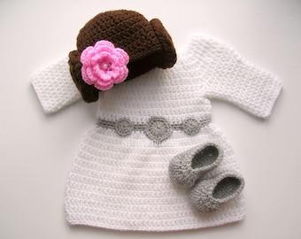 Crochet Princess Leia Dress/Princess Leia Inspired Costume/Star Wars dress//Newborn Photo Prop/Starwars Baby Girl/Star Wars/Halloween Dress
