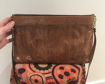 Snakeskin made in Vancouver Canada clutch / purse with shoulder strap.