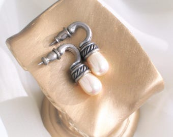 Vintage Pierced Earrings AB Finished Faux Pearl Drops 80s Costume Jewelry Free Shipping in the U.S.