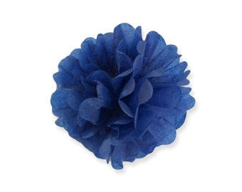 8 Inch Dark Blue Tissue Pom Poms - Paper Party Decor Decoration Supplies