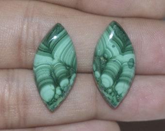 Natural Malachite Cabochon 25x12x4 MM Matching Pair Handmade Loose Gemstone Marquise Shape 28 Cts