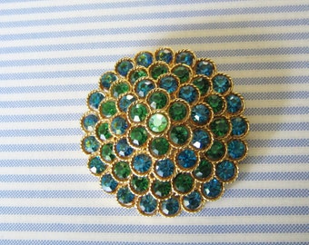LISNER BROOCH Pin Large Gold Tone Green & Blue Rhinestones Vintage Costume Jewelry Collectible Designer Jewelry Wedding Bridal Gift