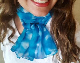 Tie Dye Turquoise Sky Blue and Navy Chiffon Silk Scarf