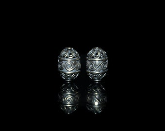 Two 14mm x 8mm Sterling Silver Beads, Sterling Silver Bali Beads, Sterling Silver Beads, Bali Beads, Silver Beads, Beads, 14mm Bali Beads