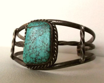 Vintage Turquoise Bracelet Native American Navajo Pawn Silver Cuff