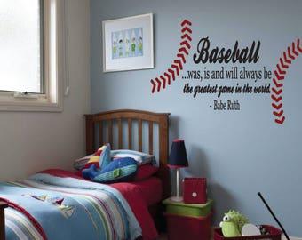 Babe Ruth, Baseball Quote. Vinyl Decal- Children's decor, Sports, Bedroom, Nursery, Baseball