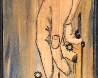 """Framed Mixed Media Assemblage Art—Hand, Wood, Metal, """"Letting Go"""""""