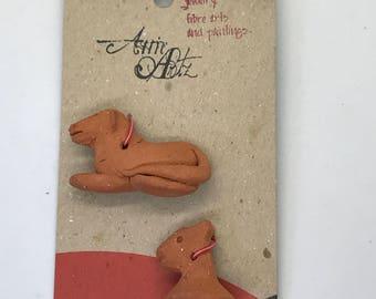 Handmade Clay Animal Beads - Set of 2