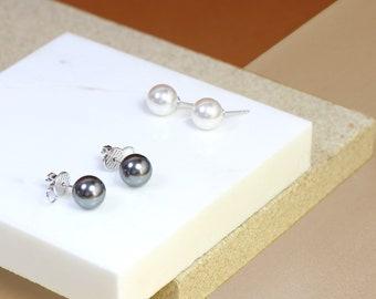 Free shipping -Pearl stud earrings - Swarovski pearl earrings - Sterling silver Studs - Bridesmaid jewelry - Pearl jewelry June Birthstone