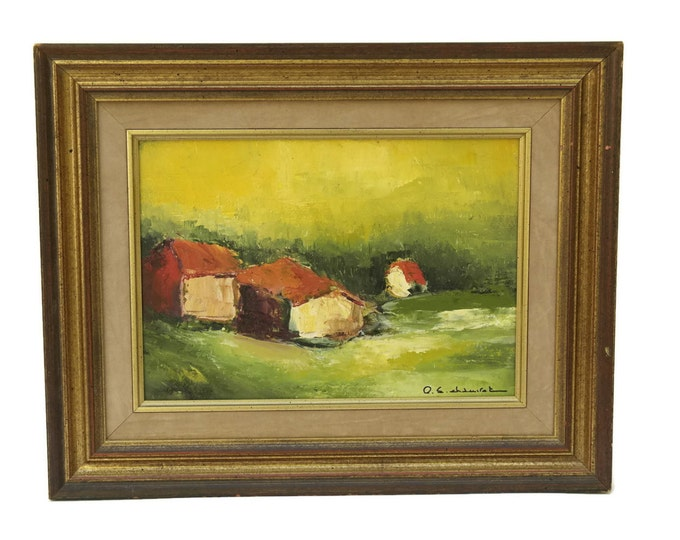 French Country Landscape Painting by Pierre Eugene Chauvet. Rustic Landscape Oil Painting. Provence Decor.