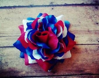 Red White and Blue Hair Clip, USA Hair Clip, American Hair Flower, American Flag Hair Clip, Fourth of July