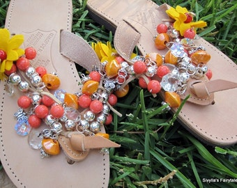 "Greek leather sandals - handmade - natural leather sandals - ""Mango Sorbet"""