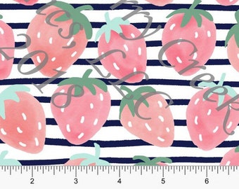 PREORDER // Navy, Salmon and Pink Strawberries // Crop Top or Bummies // limited time open
