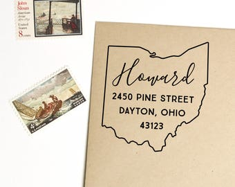 Ohio return address stamp, state, self inking stamp or rubber stamp wood handle