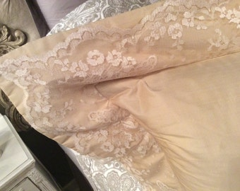 Beautiful Silk and Lace Cream Pillow - Custom Made