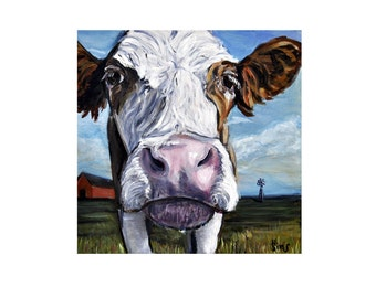 Modern Farmhouse Decor- Blue Cow Art Print, Cow Painting, Fixer Upper Wall Decor Art Giclee, Size and Matting options