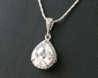 CZ teardrop Charm Necklace, Bridesmaid Gift, Wedding Jewelry, Bridal Necklace, Wedding Necklace, Gift Necklace, CZ necklace, Luxury necklace