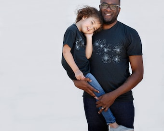Big and Little Dipper Tshirt Set, Matching Shirts Father Son, Father Daughter Astronomy Kids Gift Dad and Baby, Mens Clothing, Black
