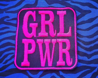Embroidered patches in pink or white thread grl PWR girl power Big 10 cm