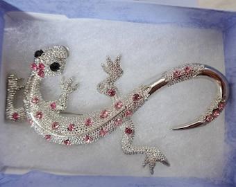 Vintage silver tone pink rhinestone salamander brooch with gift box costume jewelry jewellery