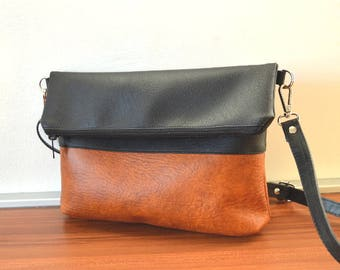Crossbody Foldover Bag, Shoulder Bag, Faux Leather Bag