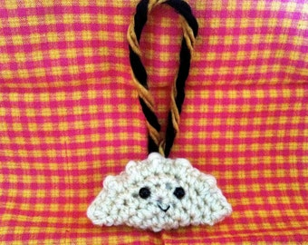 Black and Gold Crochet Pierogi Christmas Ornament