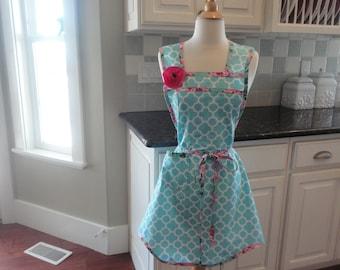 Spring Clean in Aqua Blue- Annie Style ~  Women's Retro Apron ~ 4RetroSisters