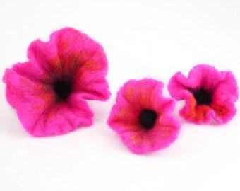 3pcs-Set of 3 hand felted purple flowers-Wool-Silk