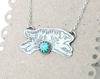 Sterling Silver Wolf Necklace, Turquoise Silver Wolf Necklace, Wild Side Wolf Pendant, Adventure Jewellery
