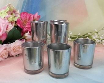50 per / Shiny Mirror Mercury Glass Votive Candle Holder for Weddings Silver Mercury Style 50 p/order, Bulk Silver Mercury  Votive holders