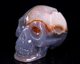 Natural Blue Grey Agate Geode Quartz Crystal Cluster Carved Skull ,Healing Skull S016