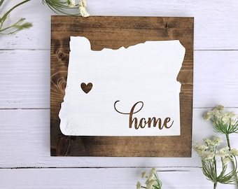 Home Sign, Home Sign with Heart Over City, Wooden Home Sign, Wooden Home Sign with Heart Over City, Home State Sign
