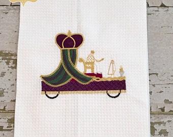 Mardi Gras Float Waffle Weave Hand Towel