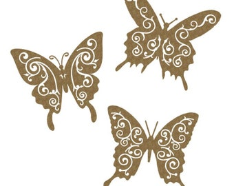 Creative Embellishments Chipboard Flourish Butterflies, set of 3