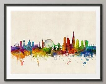 London Skyline, London England Cityscape Art Print (1026)