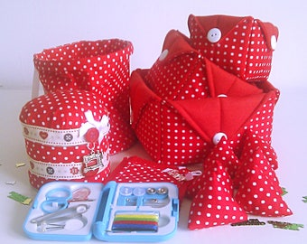 Large Sewing  Set, Seamstress  Set, Pin Cushion Tin, Thread Catcher, Fabric Storage Baskets, Sewing  Set, Polka Dots